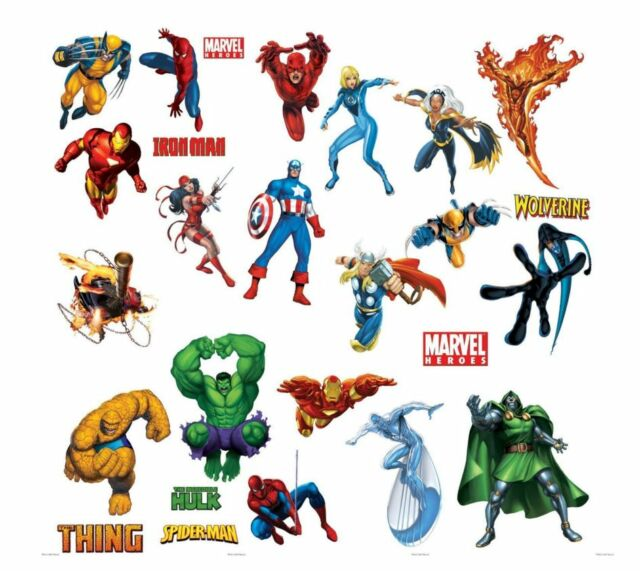 Marvel Heroes Wall Stickers Decal Removable Art Action Sticker Home Mural New  sc 1 st  eBay & Marvel Heroes Wall Stickers Decal Removable Art Action Sticker Home ...