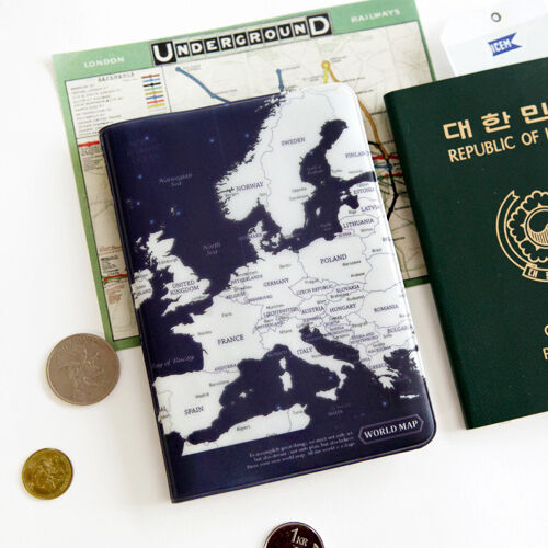 Indigo blue world map passport holder cover travel wallet card case resntentobalflowflowcomponenttechnicalissues gumiabroncs Image collections
