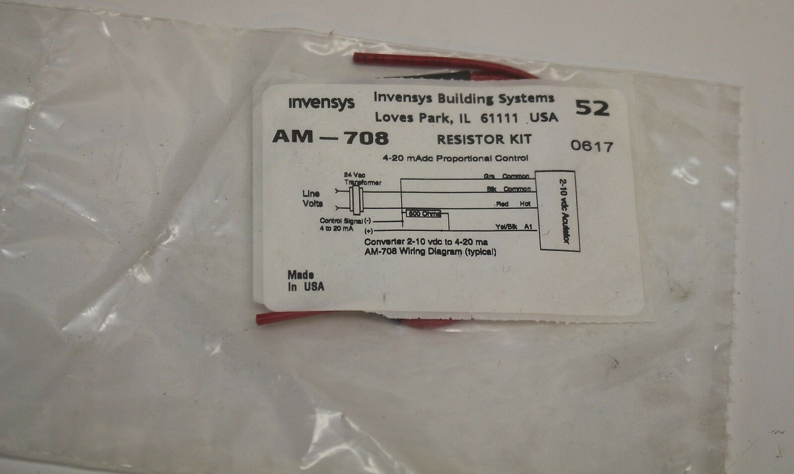Nos Am 708 Invensys 500 Ohm Resistor Kit For 0 20ma Ship Ebay Nitrous System Wiring Diagram Picture 1 Of 2