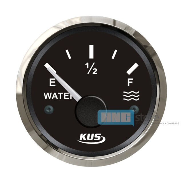 KUS Stainless Steel Bezel Boat Water Level Gauge Marine  DC 12V/24V Yacht