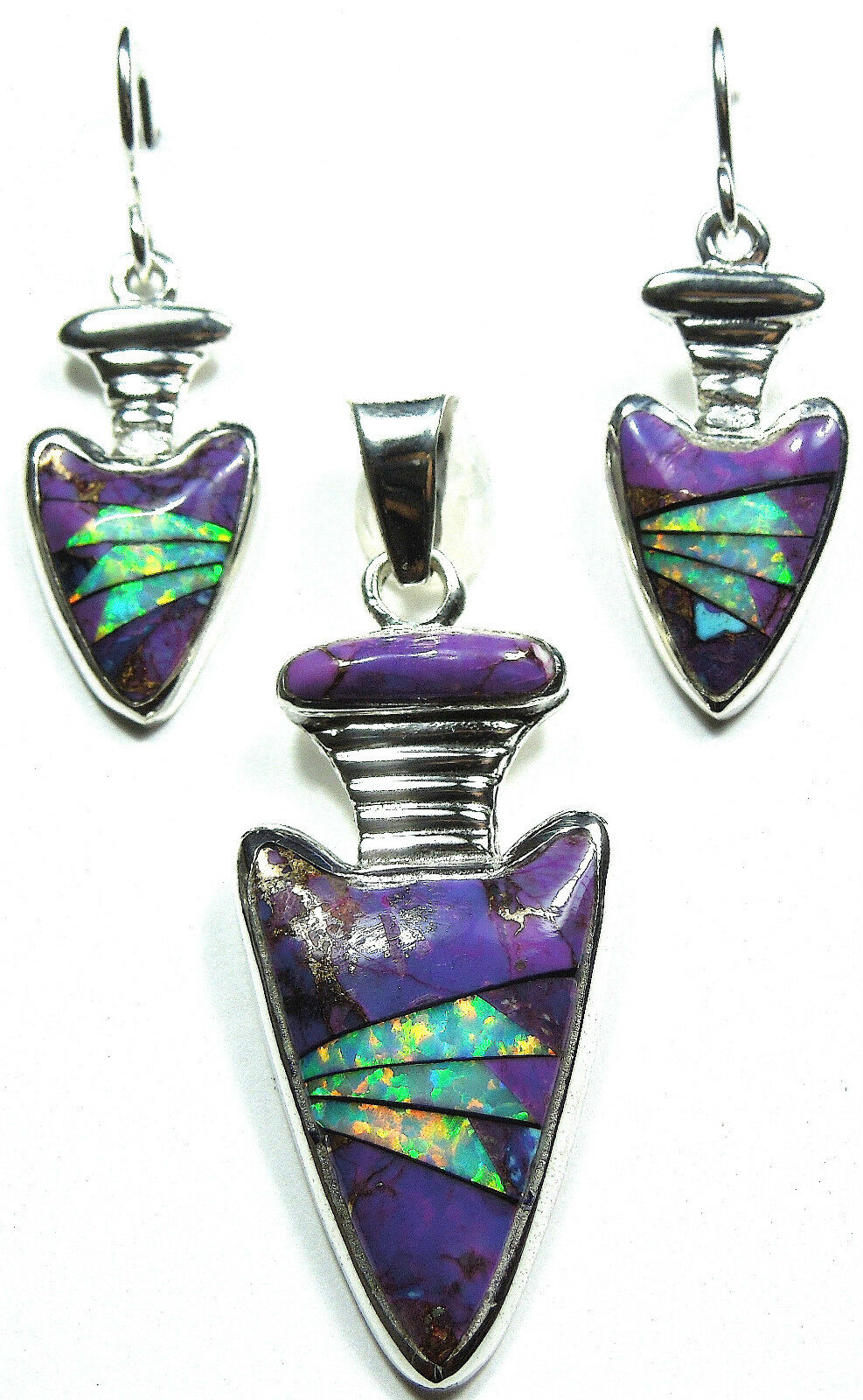 Fire opal purple turquoise inlay 925 sterling silver pendant picture 1 of 2 aloadofball Gallery