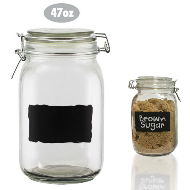 Chalkboard Label Glass Jar Canister 47oz Air Tight Lid Food Storage