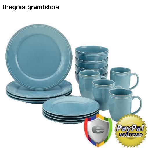 sc 1 st  eBay & Rachael Ray CUCINA 16pc Dinnerware Set Agave Blue 55093 | eBay
