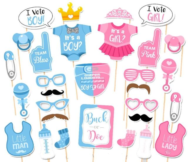 30PCS Baby Shower Gender Reveal Party Supplies Boy Or Girl Photo Booth Props