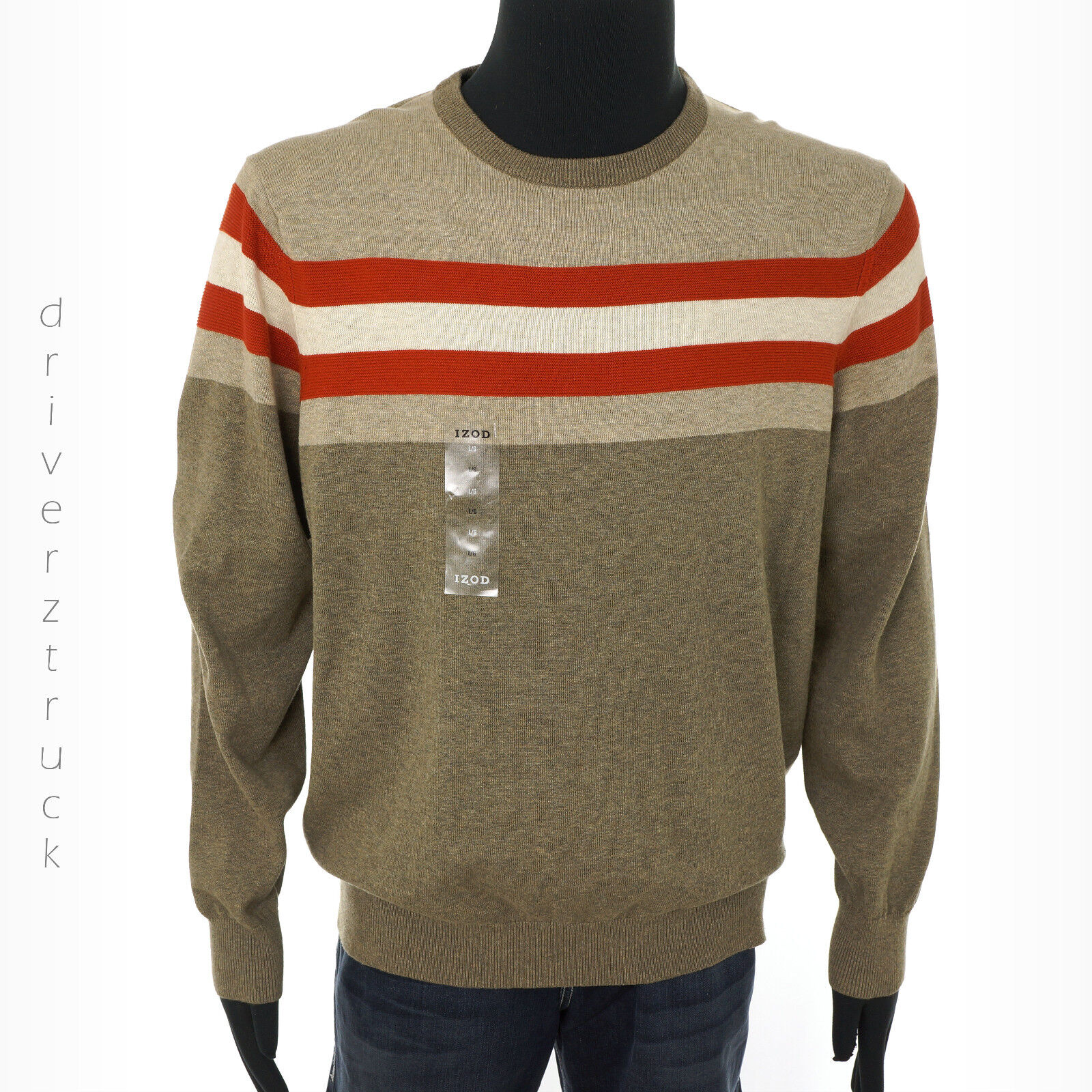 IZOD Men's X-large Rooibos Tea Heather Brown Sweater With Cream ...