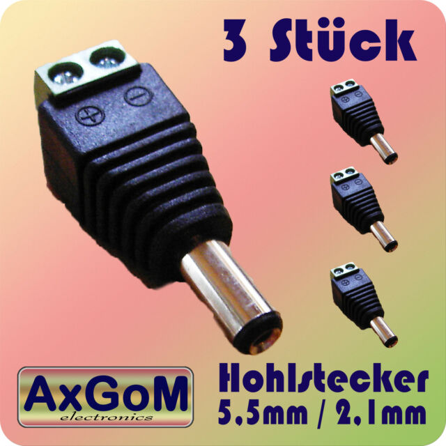 Hohlstecker 5,5 mm / 2,1 mm - Schraubklemmen - 3 Stück