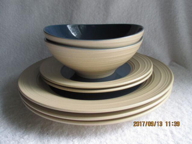 Mikasa Swirl Dark Blue 3 Dinner 2 Salad Plates 2 Bowls Pottery u0026 China New Tags & Mikasa Swirl Dark Blue 3 Dinner 2 Salad Plates 2 Bowls Pottery ...
