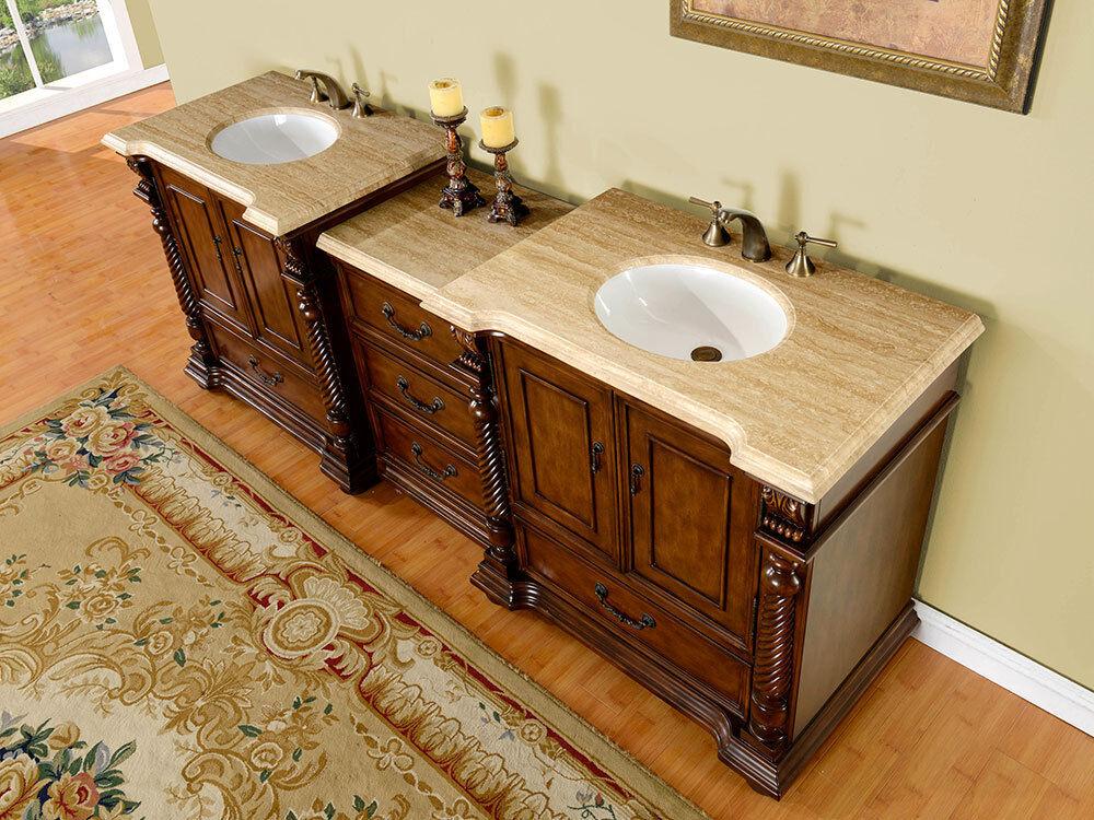 92 Inch Bathroom Modular Vanity Stone Top Double Sink Lavatory Cabinet  0275TR
