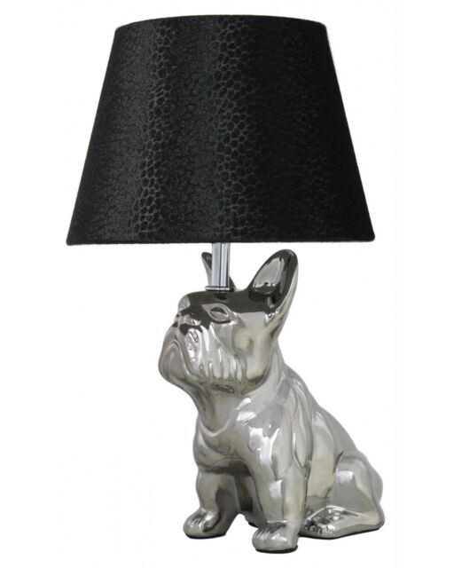 STUNNING Quirky Silver Bulldog Table Lamp With 8 Inch Black ...