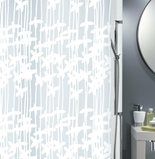 Spirella Sarong White Shower Curtain 70 7 8x78 11 16in 100 PEVA