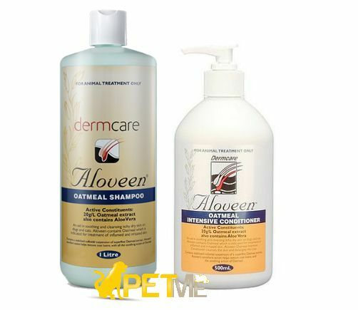 Aloveen Oatmeal Shampoo 1L + Conditioner 500ml Dermcare Sensitive Skin Dog/Cat