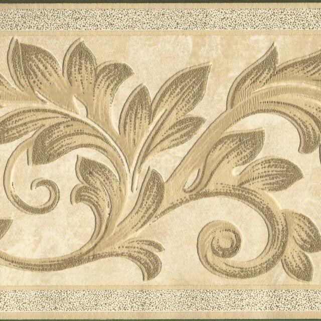 Ornate Embossed Victorian Leaf Ivory Metallic Gold