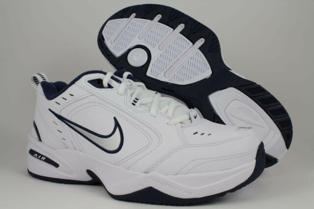 NIKE AIR MONARCH IV 4 EXTRA WIDE 4E EEEE WHITE/SILVER/NAVY BLUE TRAINER