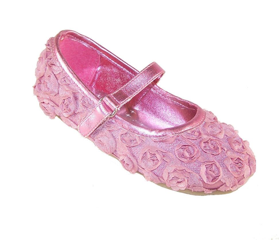 Girls Infant Children Pink Satin Flower Girl Ballerina Shoes Wedding
