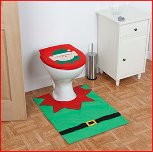 Christmas Elf Toilet Seat Cover Bathroom Decoration Xmas 4pc Restroom Santa Gift Union Jack D I Have Adored The