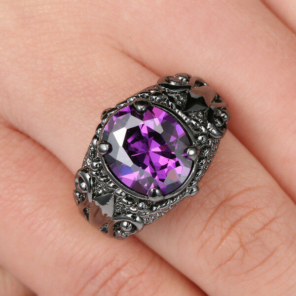 Sz 8 Jewelry Mens Amethyst 10k Black Gold Filled Fashion Engagement