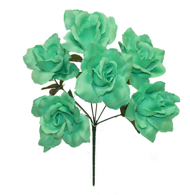 6 Open Roses MINT Green Soft Touch Silk Wedding Flowers Bouquets ...