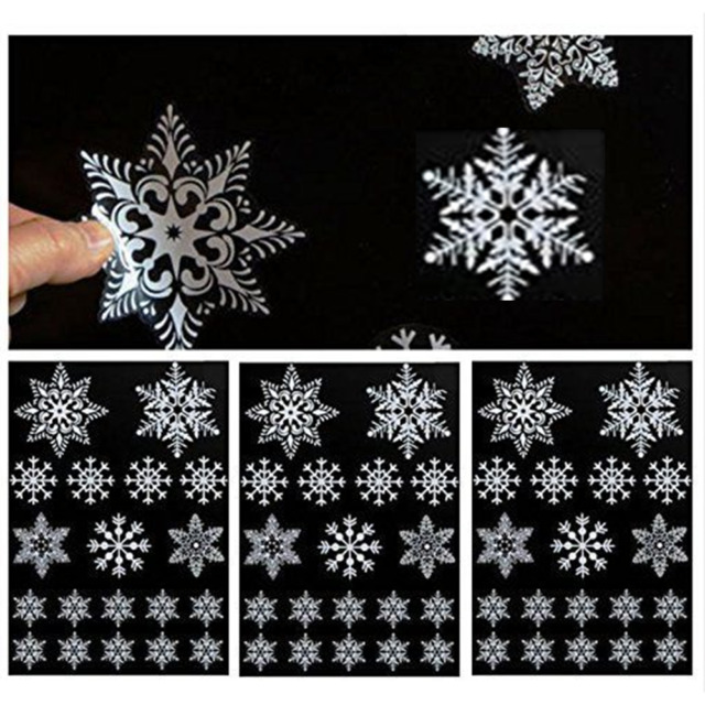 19 reusable white christmas snowflake window stickers self clings xmas decor new