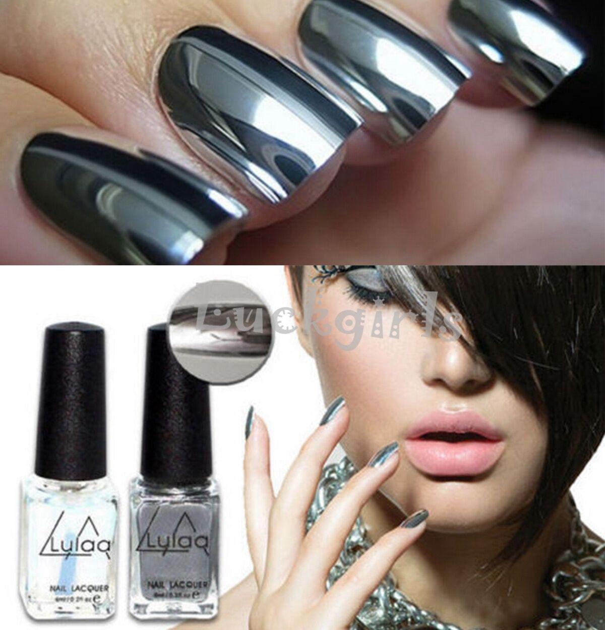 2pcs Silver Metal Mirror Effect Nail Art Polish Varnish & Base Coat ...
