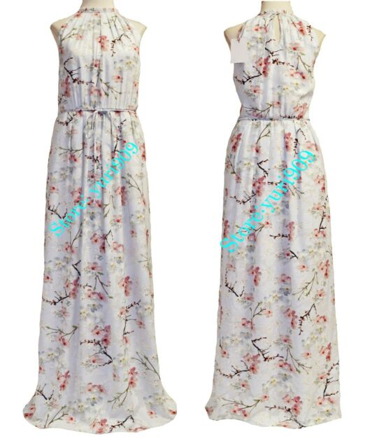 Ted Baker London Light Grey Elenor Floral Pleated Maxi Dress Size ...