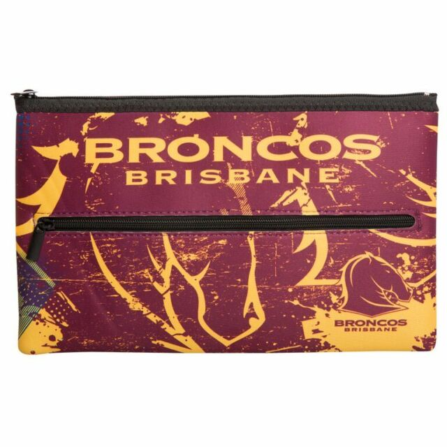 NEW QUALITY LARGE NRL Brisbane Broncos Pencil Case for School Work stationary