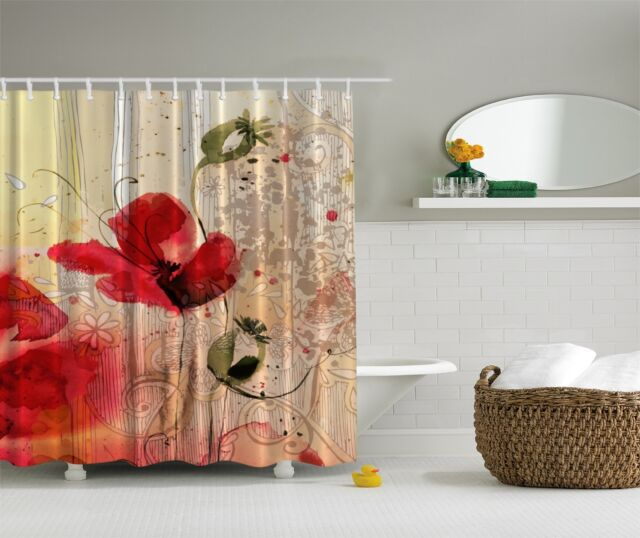 Red Poppy Flower Beige Floral Fabric Shower Curtain Digital Art ...