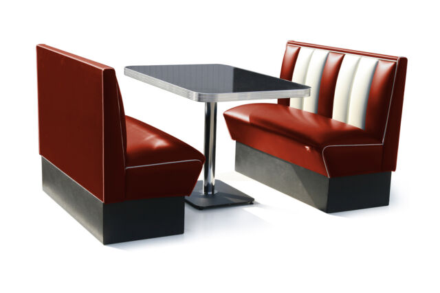 Retro 50s Diner Furniture Kitchen Table Restaurant Bench Booth Seating Ruby