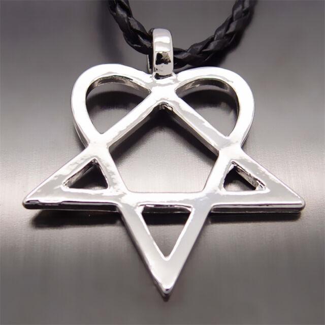 Men women heartagram star heart him pewter pendant with 20 choker men women heartagram star heart him pewter pendant with 20 choker necklace aloadofball Choice Image