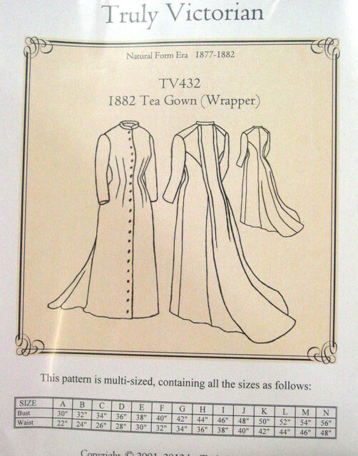 Truly Victorian Sewing Pattern for Tea Gown Wrapper TV432 Uncut | eBay