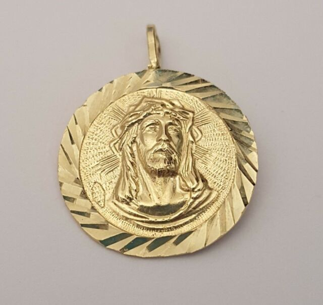 14k yellow gold diamond cut jesus face charm pendant ebay 14k real solid yellow gold jesus face crown medallion charm pendant diamond cut aloadofball Choice Image