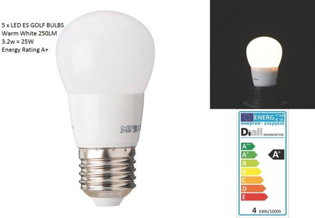 5 X Diall LED Golf Lamp WARM White 3.2W U003d 25W Light Bulb E27 ES