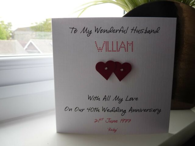 Handmade Personalised Ruby 40th Wedding Anniversary Card Husband Wife Couple