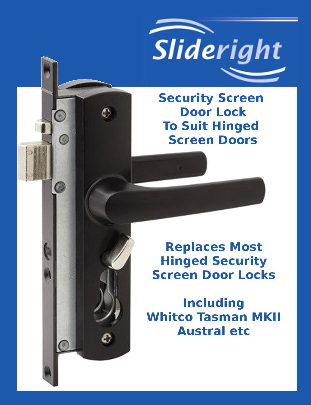 Security Screen Hinged Door Lock Whitco Tasman Mk2 Equivalent Black