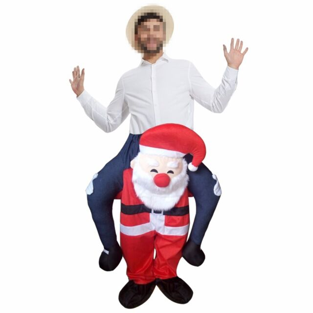 Santa Claus Novelty Carry Me Fancy Dress Up Costume Ride On Suits Christmas Gift
