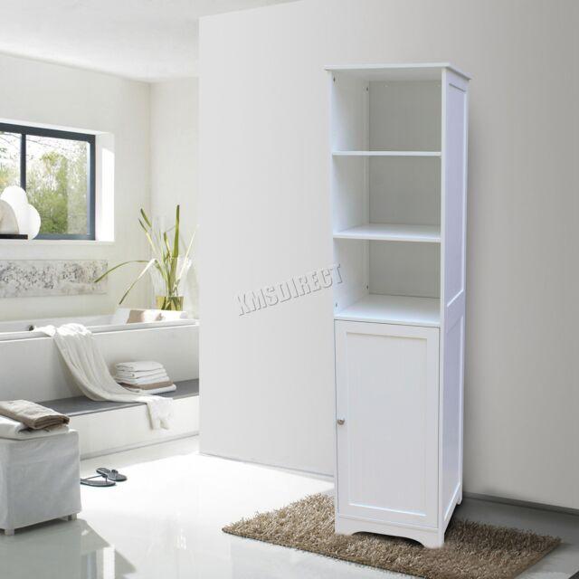FoxHunter Wall Mount Wooden Bathroom Cabinet Tall Shelving Unit Storage  Cupboard