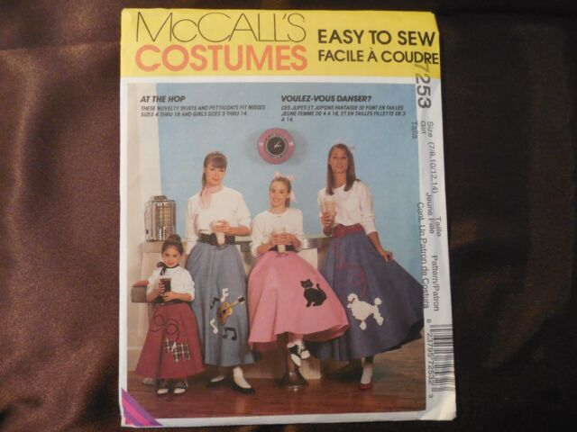 NEW McCalls Costume Pattern 7253 Girl TeenMisses Sz 7 14 Poodle Skirt Appliques