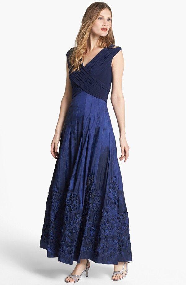 Patra V Neck Soutache Mixed Media Dress Sapphire Size 6 Ebay