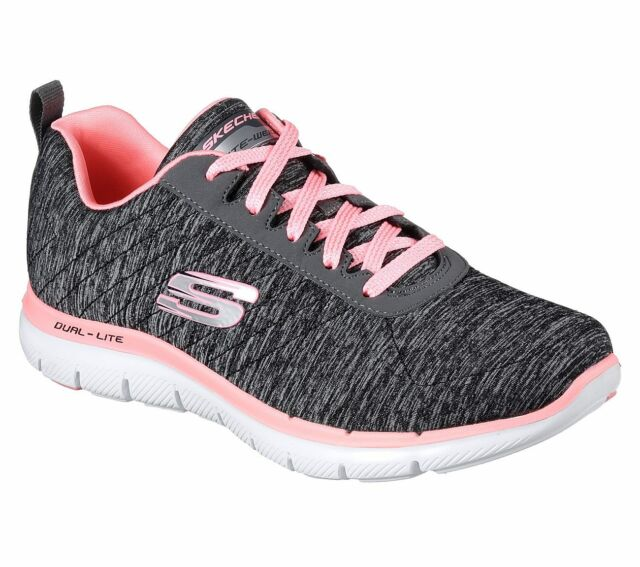 Skechers Flex Appeal 2.0, Baskets Femme, Gris (Grey/Coral), 36 EU