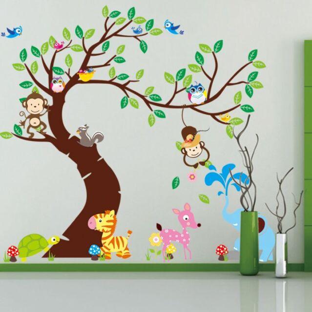 Animal Monkey Giraffe Wall Stickers Art Nursery Childrenu0027s Bedroom Decor UK Part 75