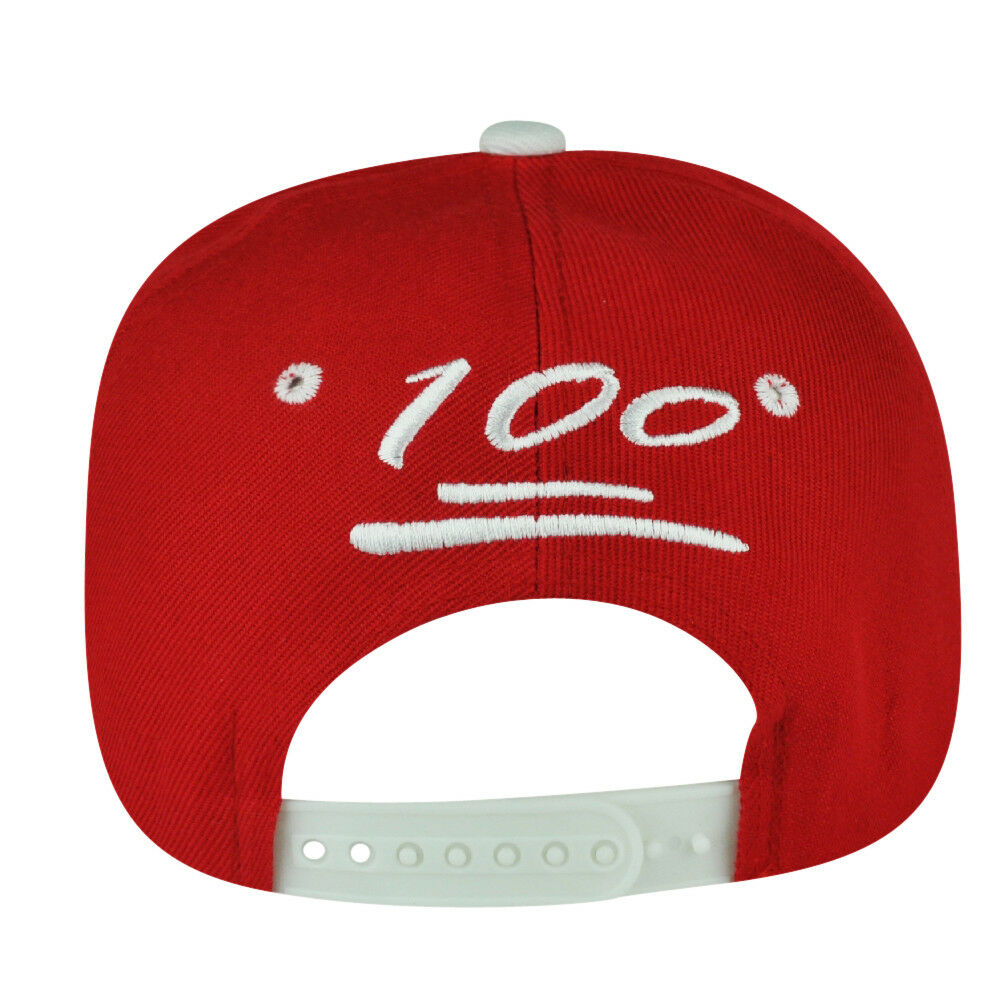 100 One Hundred Snapback Hat Cap Emoji Text Symbol Emoticons Red