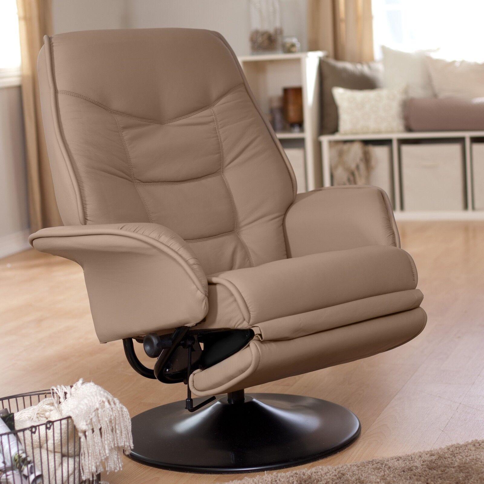 Coaster Furniture Leatherette Swivel Recliner Chair in Bone Finish