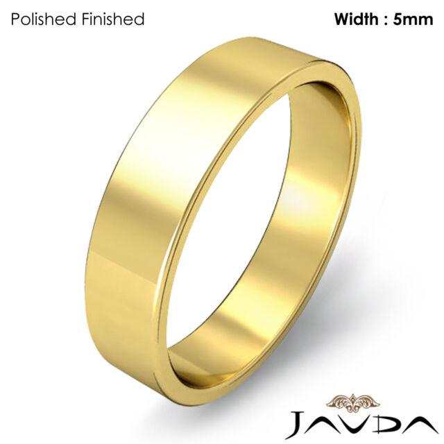 14k Yellow Gold 5mm Flat Wedding Band Ring