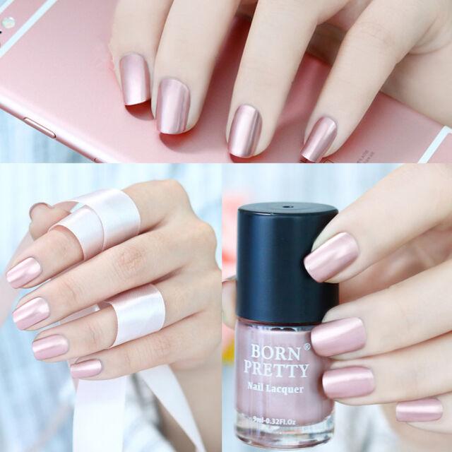 Metallic Nail Polish Rose Gold Mirror Effect Varnish Manicure 9ml ...