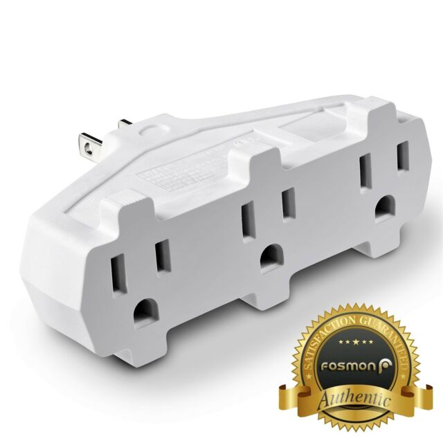 3 Outlet Wall Adapter Tap Fosmon 3-prong Grounded Indoor AC Mini ...