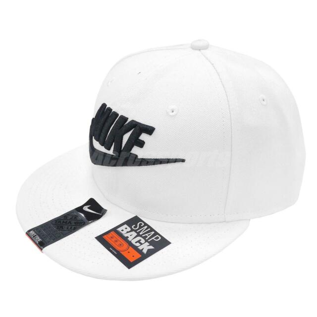 Nike Futura True 2 Snapback White Black Mens Adjustable Hat Big Logo  584169-100