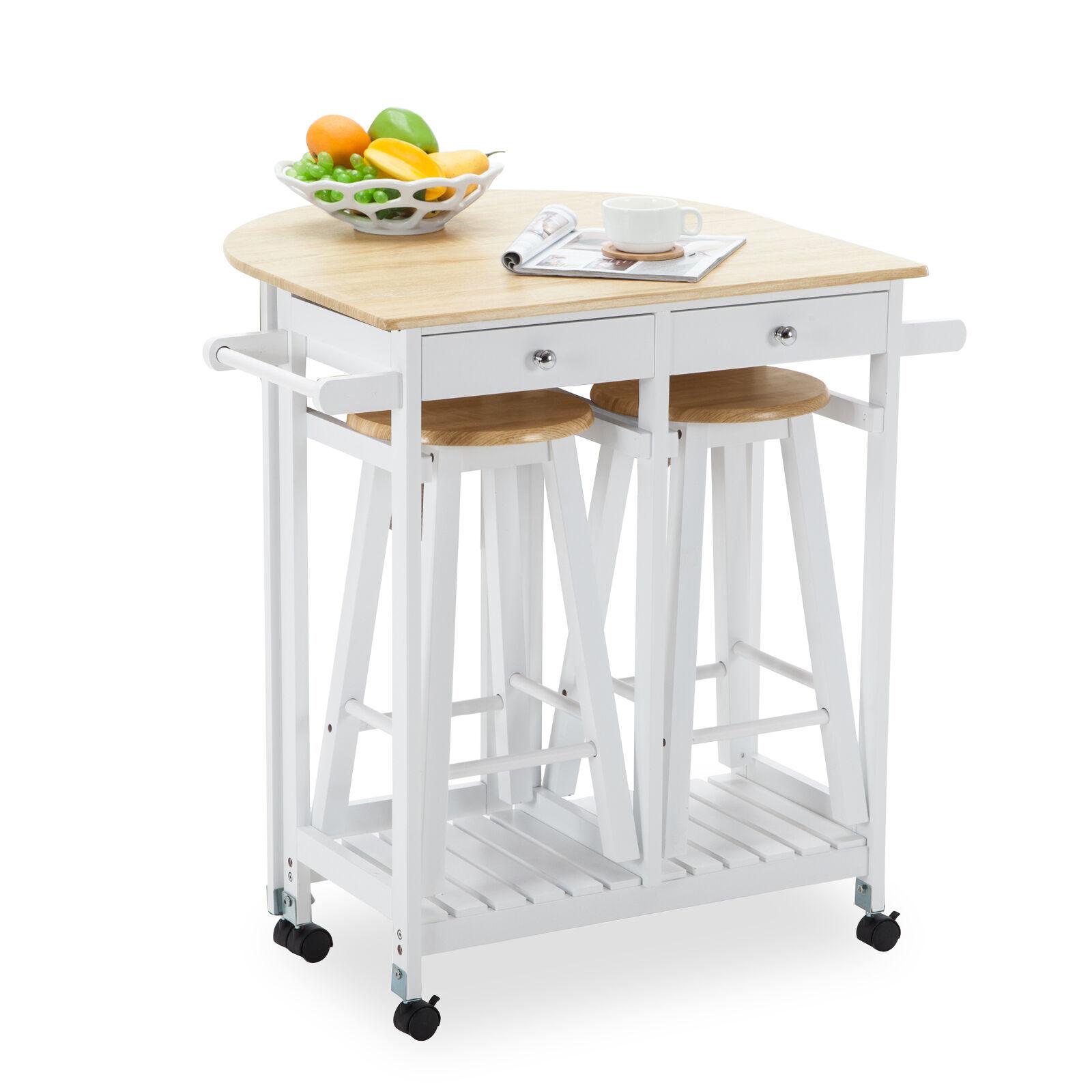 Oak Kitchen Island Cart Trolley Storage Dining Table 2 Bar Stools