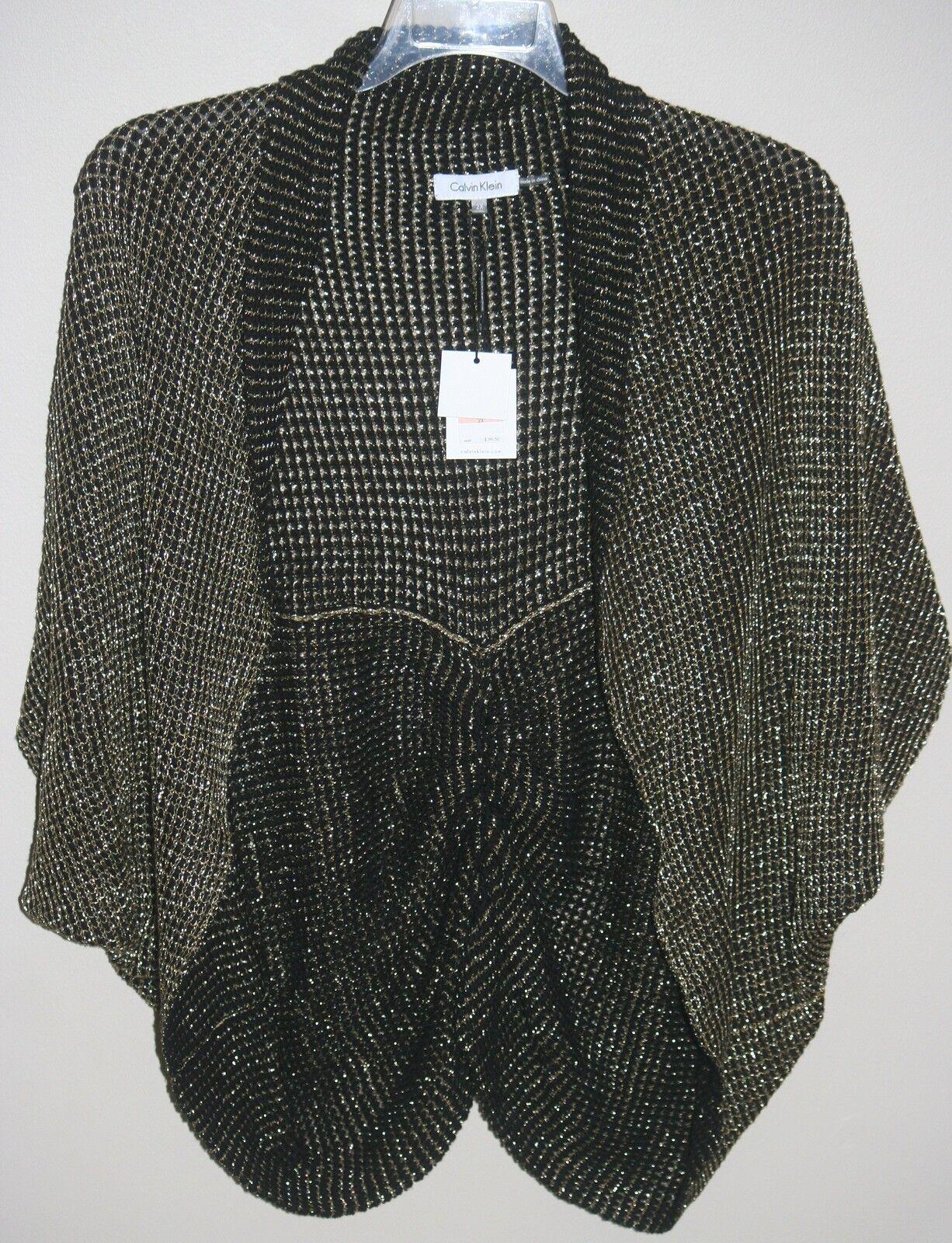 Calvin Klein Plus Black/gold Short Sleeve Cardigan Sweater Size 2x ...