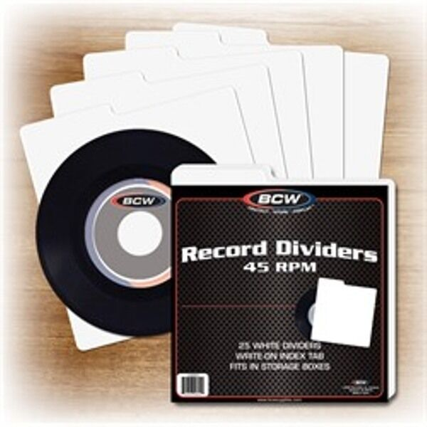 50 BCW 45 RPM Record Dividers Wide Index Tab for 7 Inch Storage