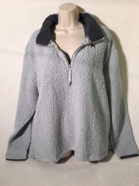 Victorias Secret Pink Sherpa BOYFRIEND Half Zip Jacket Gray Fleece ...