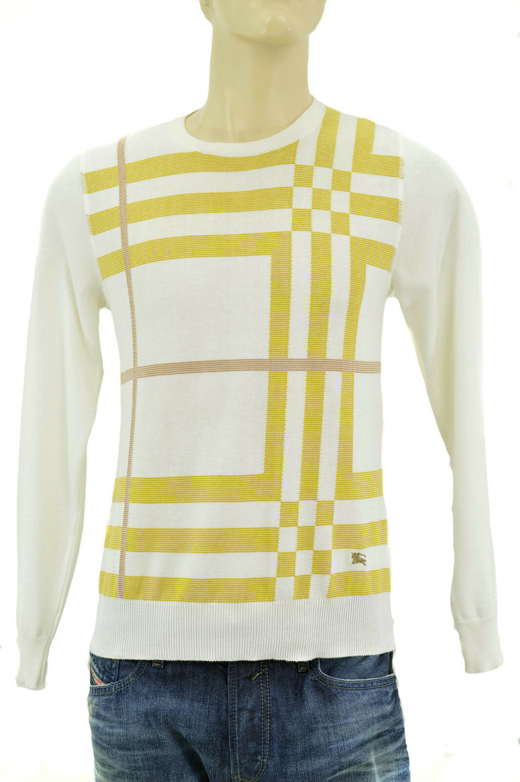 Burberry London Cream White Gold Check Mens 100 Wool Sweater Size ...